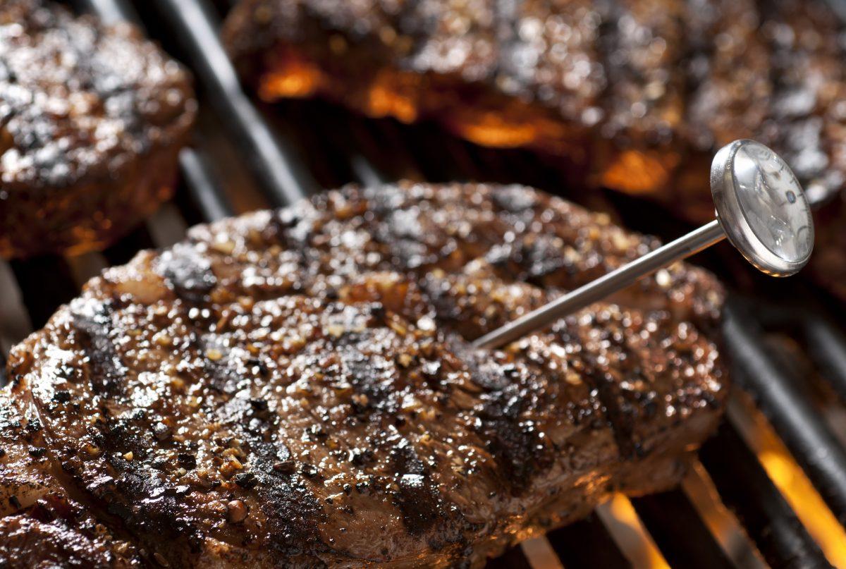 Steak Temperature Check on Grill