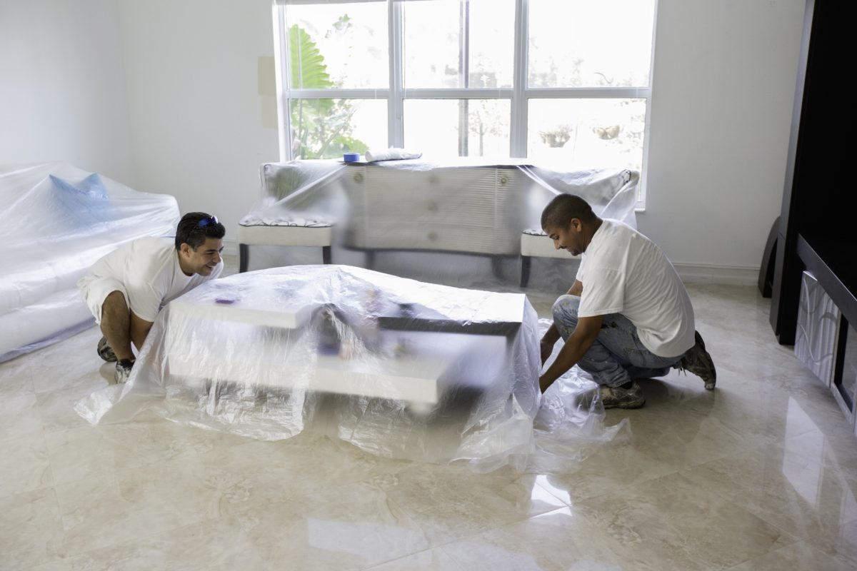Covering furniture in plastic