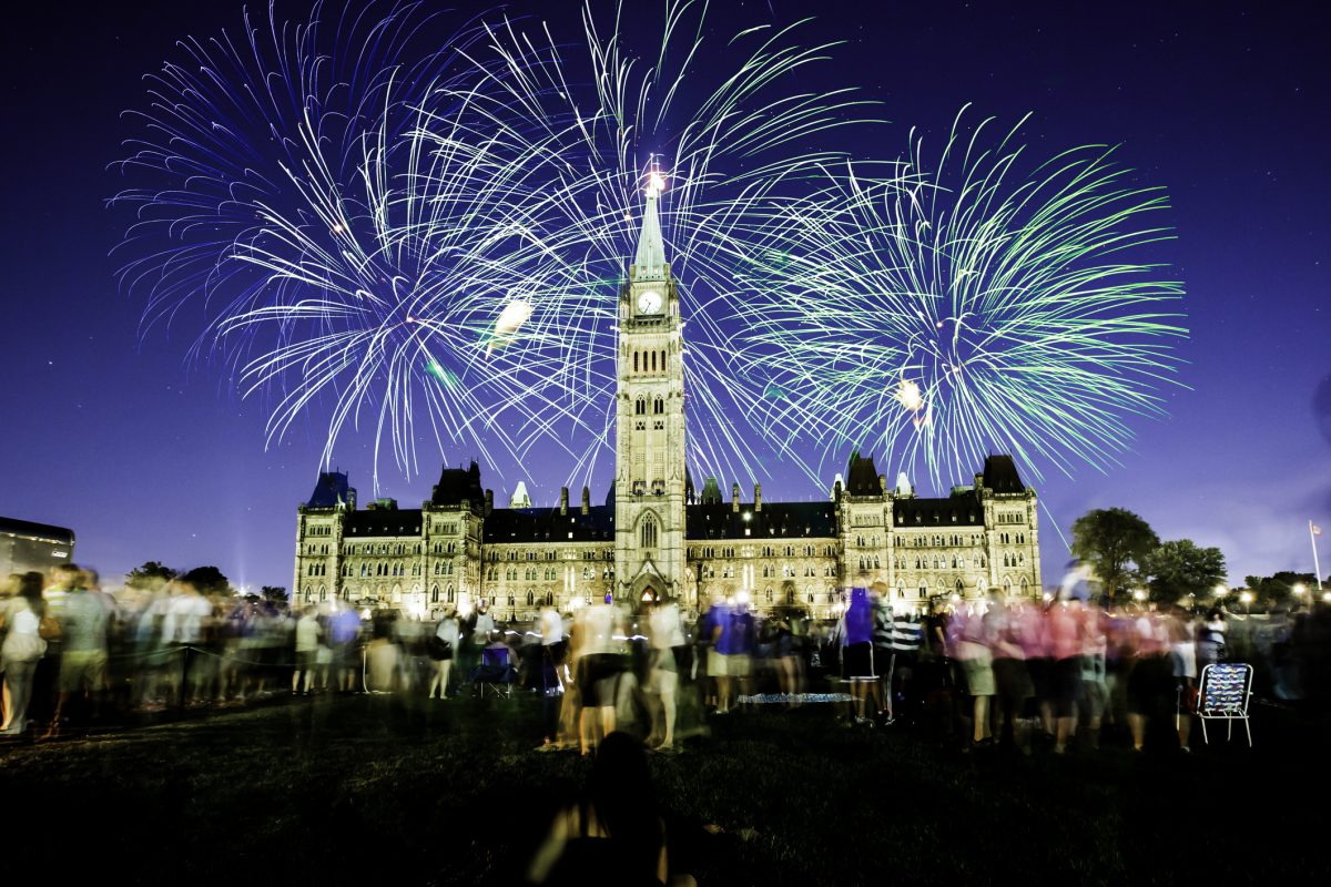 Fireworks over Parliament Hill