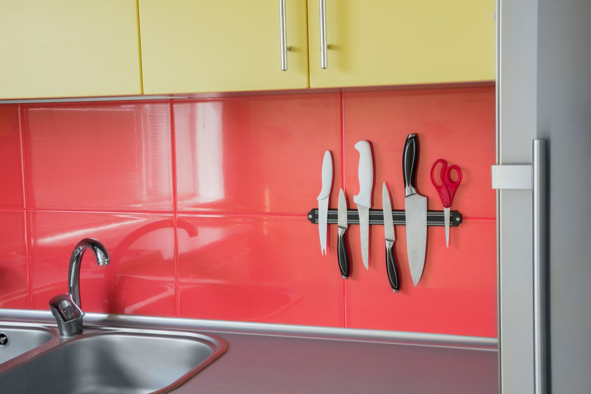 Magnetic knife strips save space