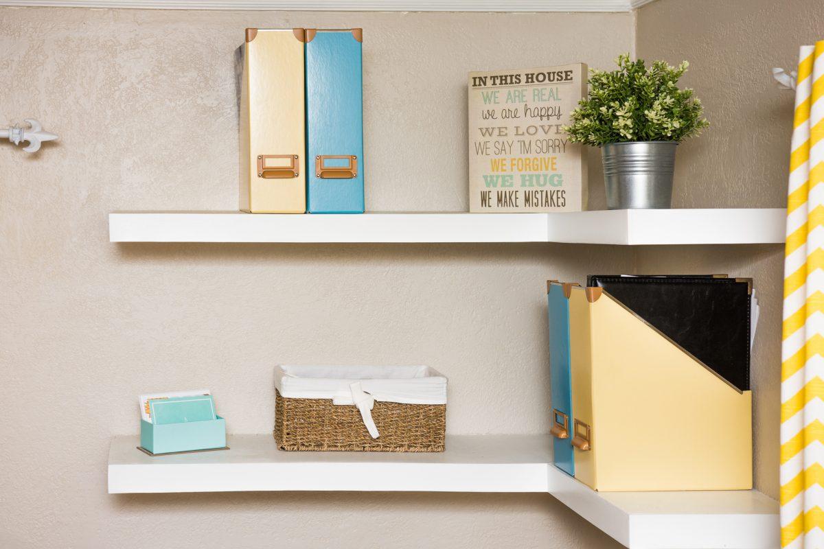 function unused space corner floating shelves