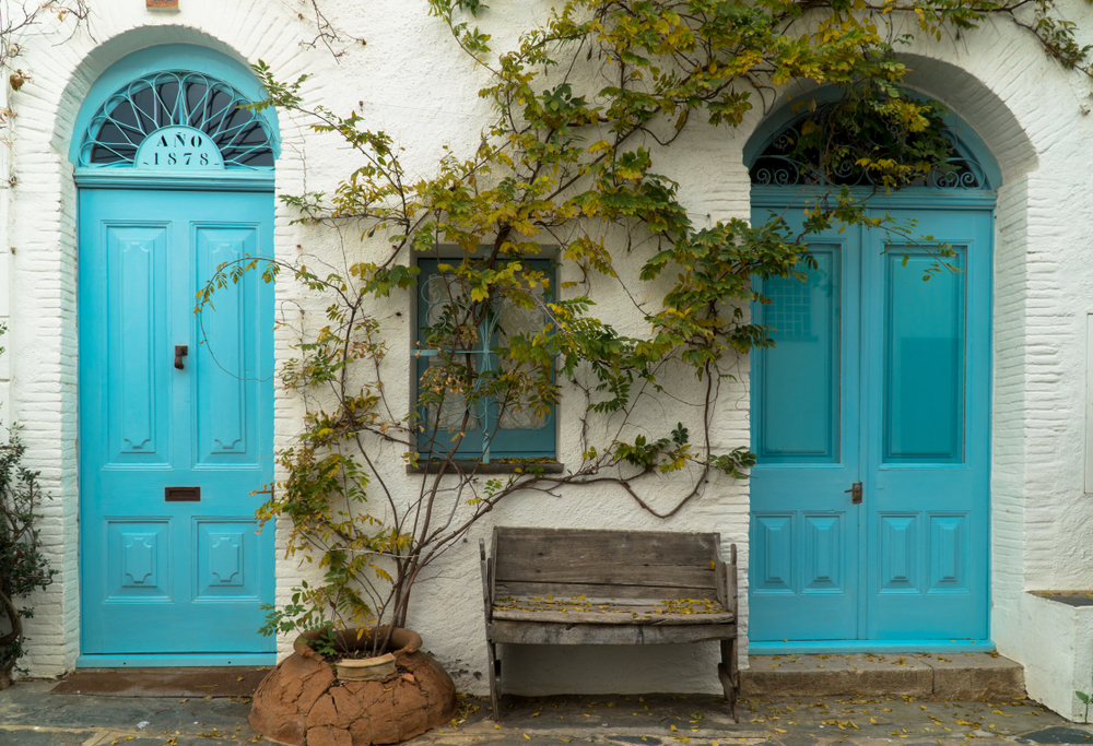 Two turquoise doors in the old town center