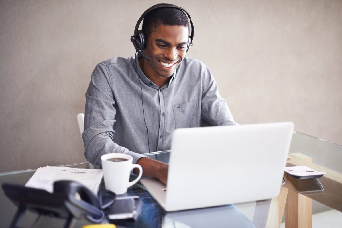 man work from home headset