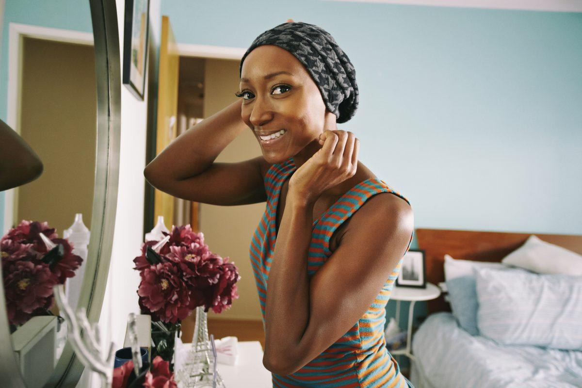 standing in bedroom scarf