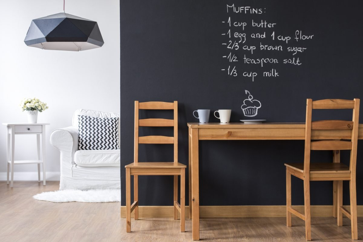 Transforms distressed decor chalkboard wall