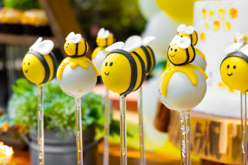 Bee themed birthday, bee shaped candies for newborn and baby shower party