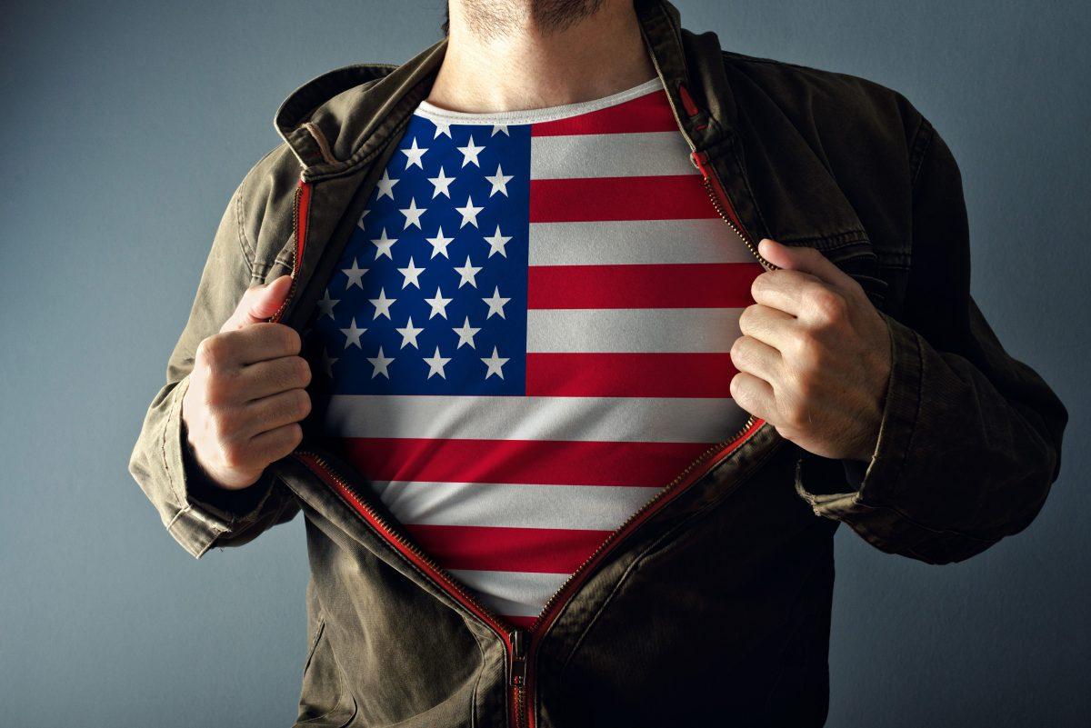 man wearing flag shirt