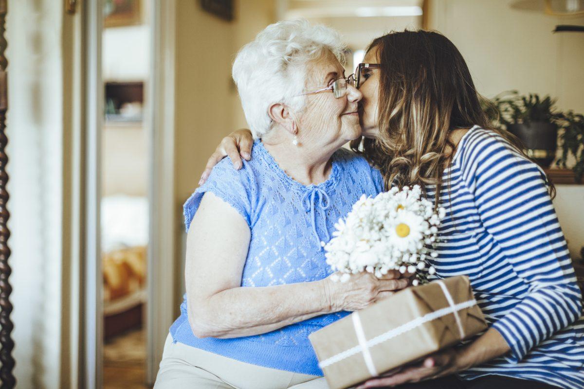 Older woman celebrating birthday