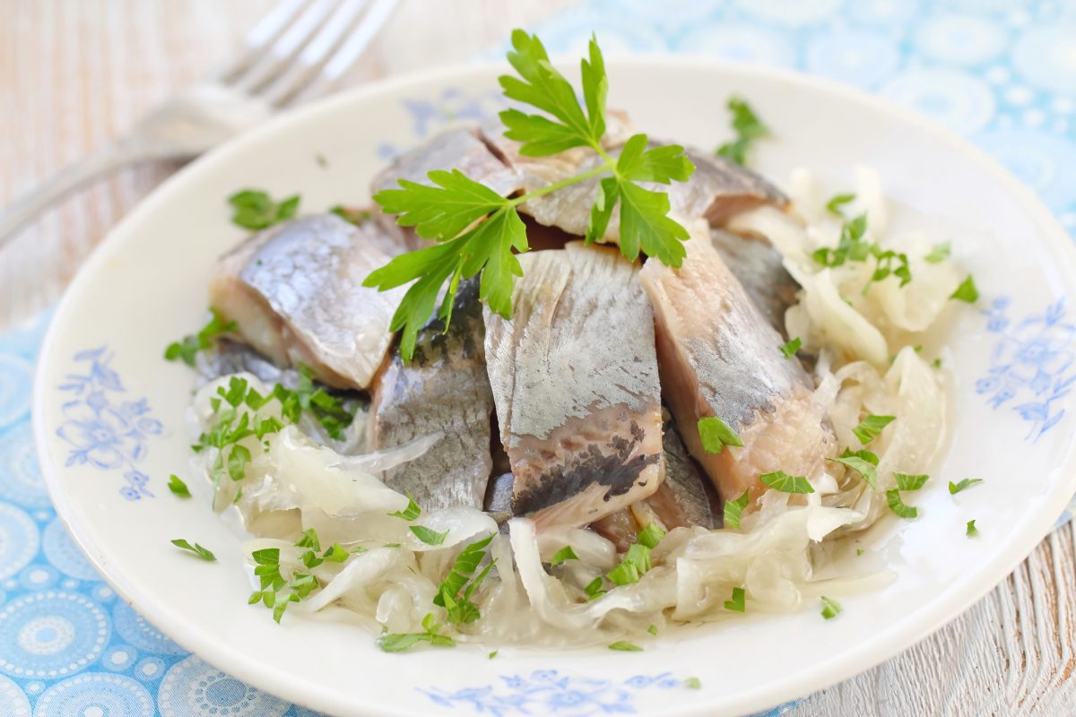atlantic herring onions plate