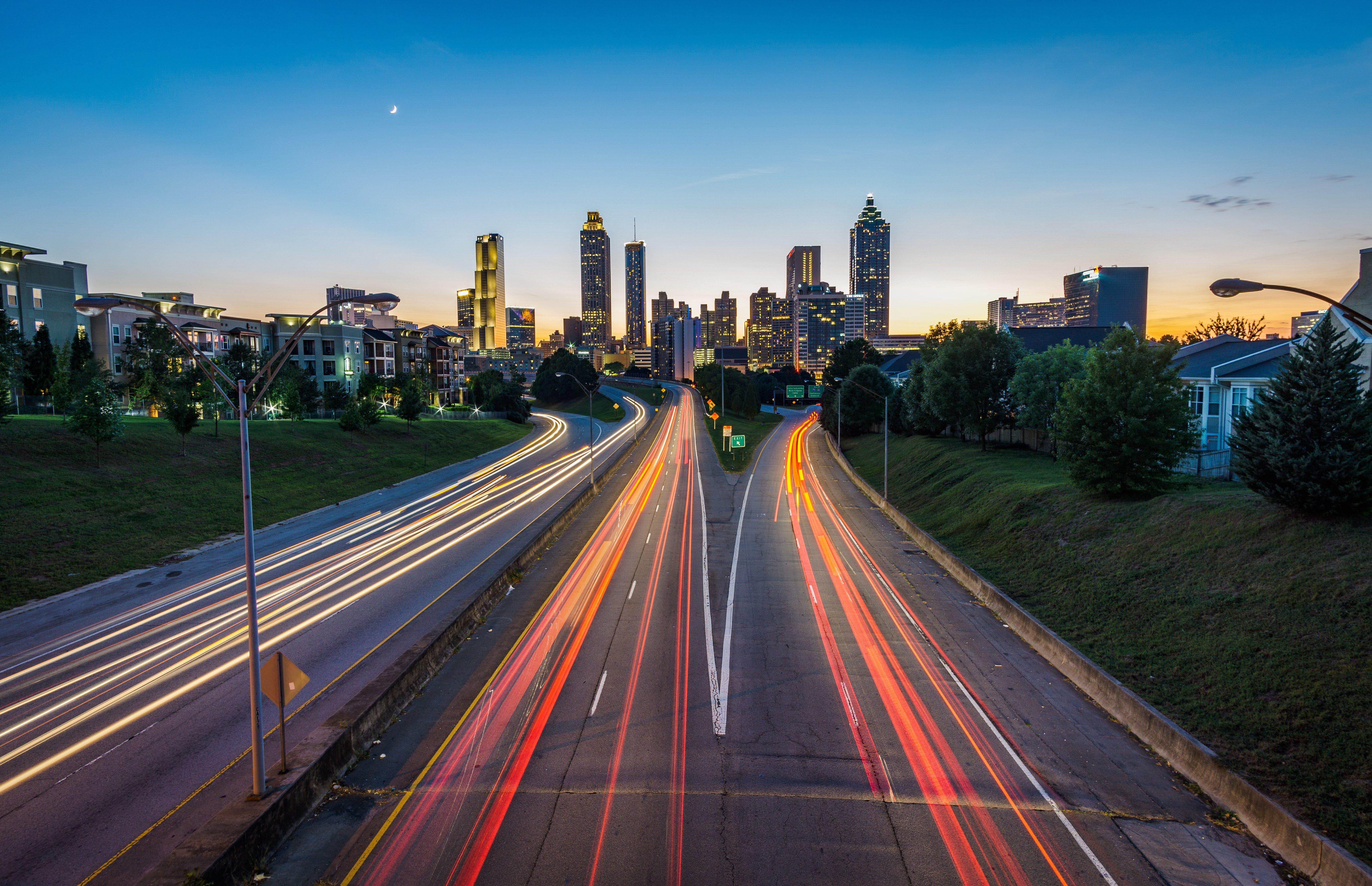 The Atlanta skyline at dusk.