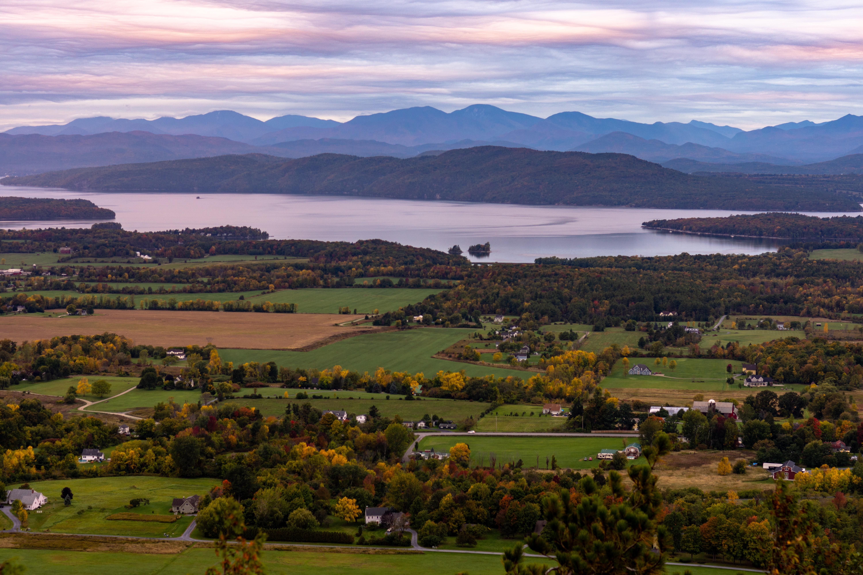 Overlooking Vermont'sChamplain Valley, facing westward at sunrise.
