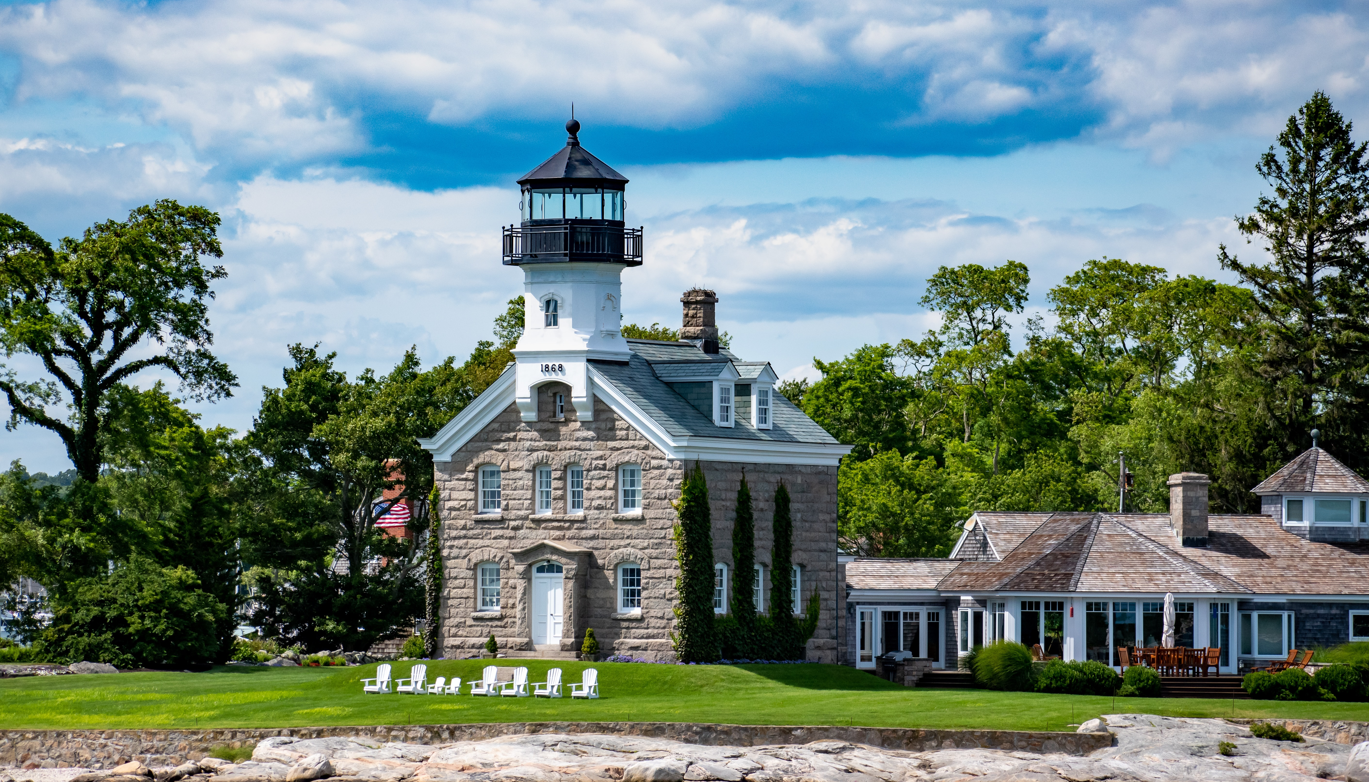 Morgan Point Lighthouse locatedat the mouth of the Mystic River as it empties into Fisher Island Sound in Connecticut.