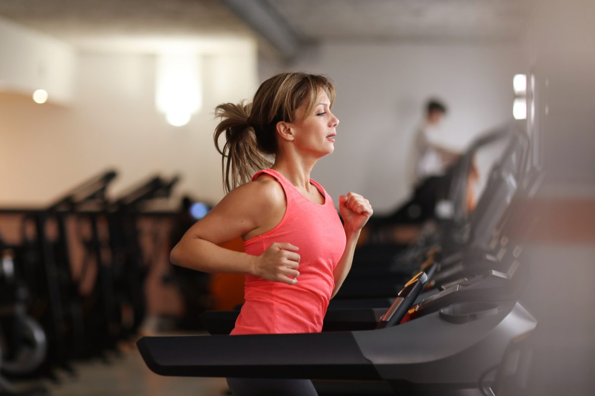 a woman on a treadmill