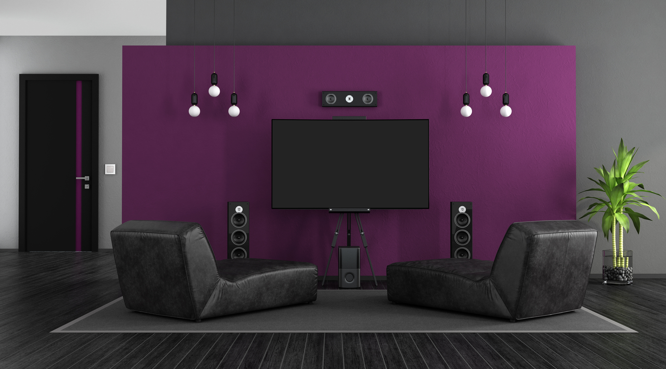 Black and purple with chaise lounges and home cinema system