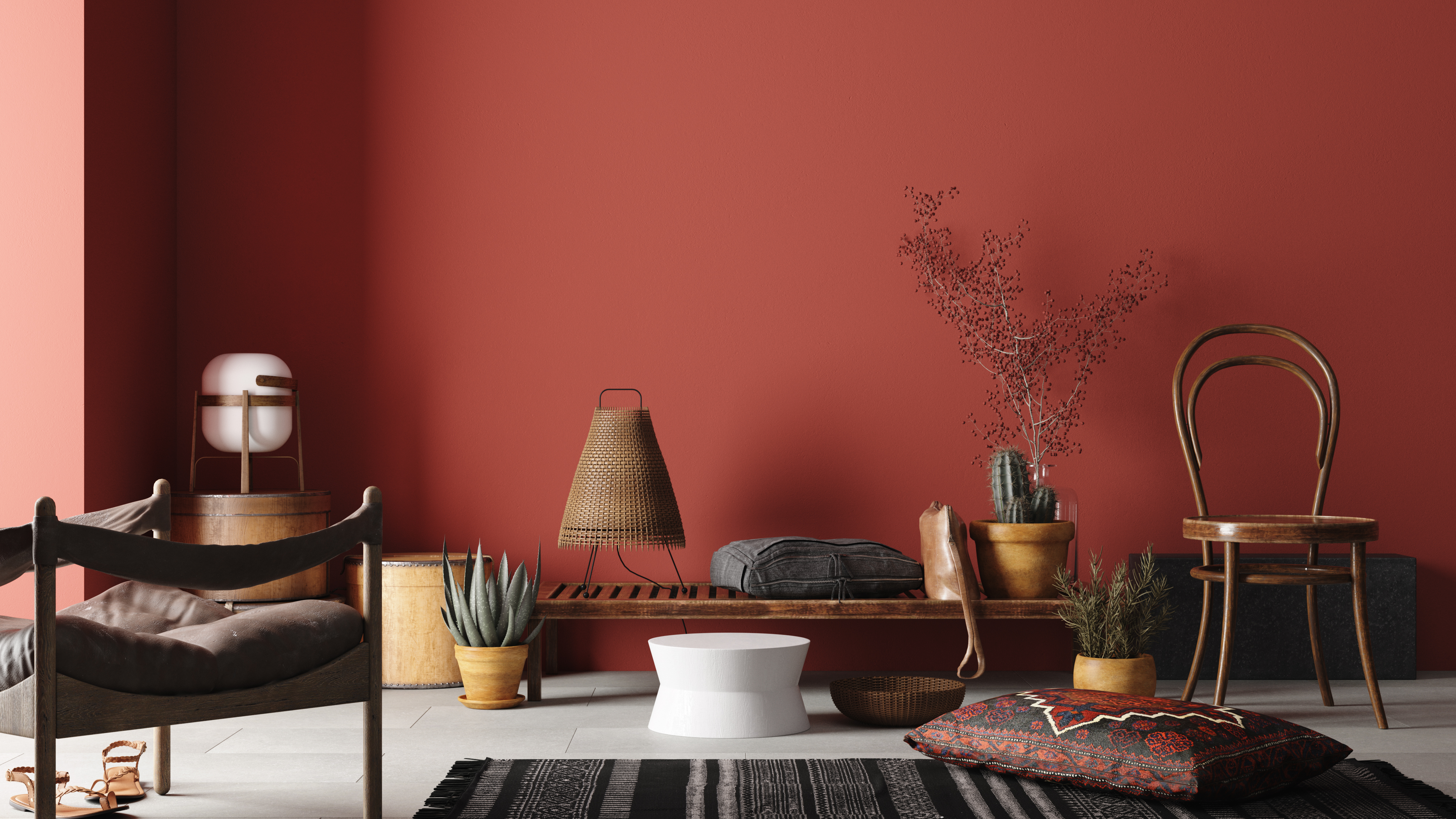 Rustic Home interior mockup with bench,chairs and decor in red room, 3d rendering