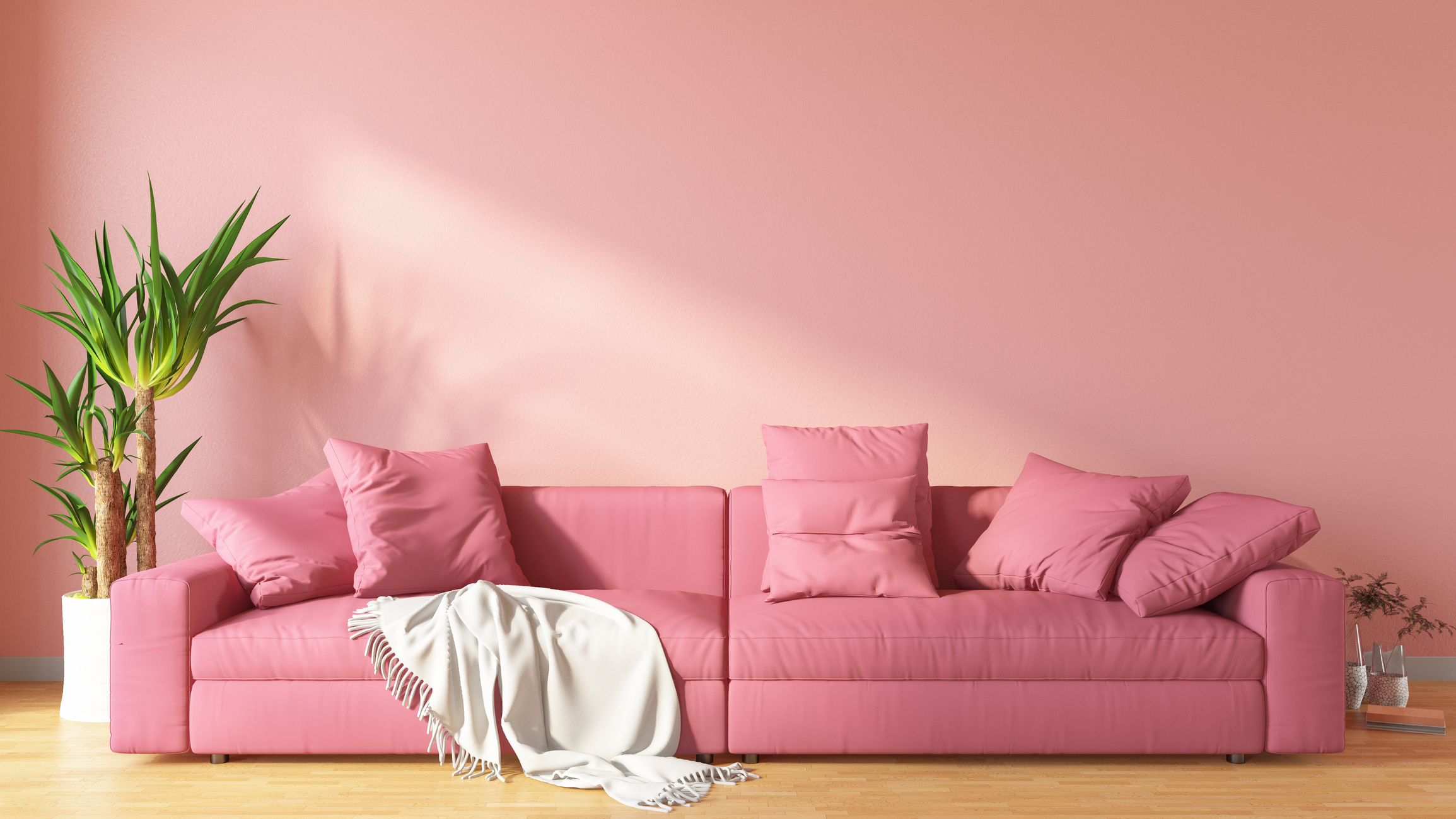 Pink Living Room with Sofa.