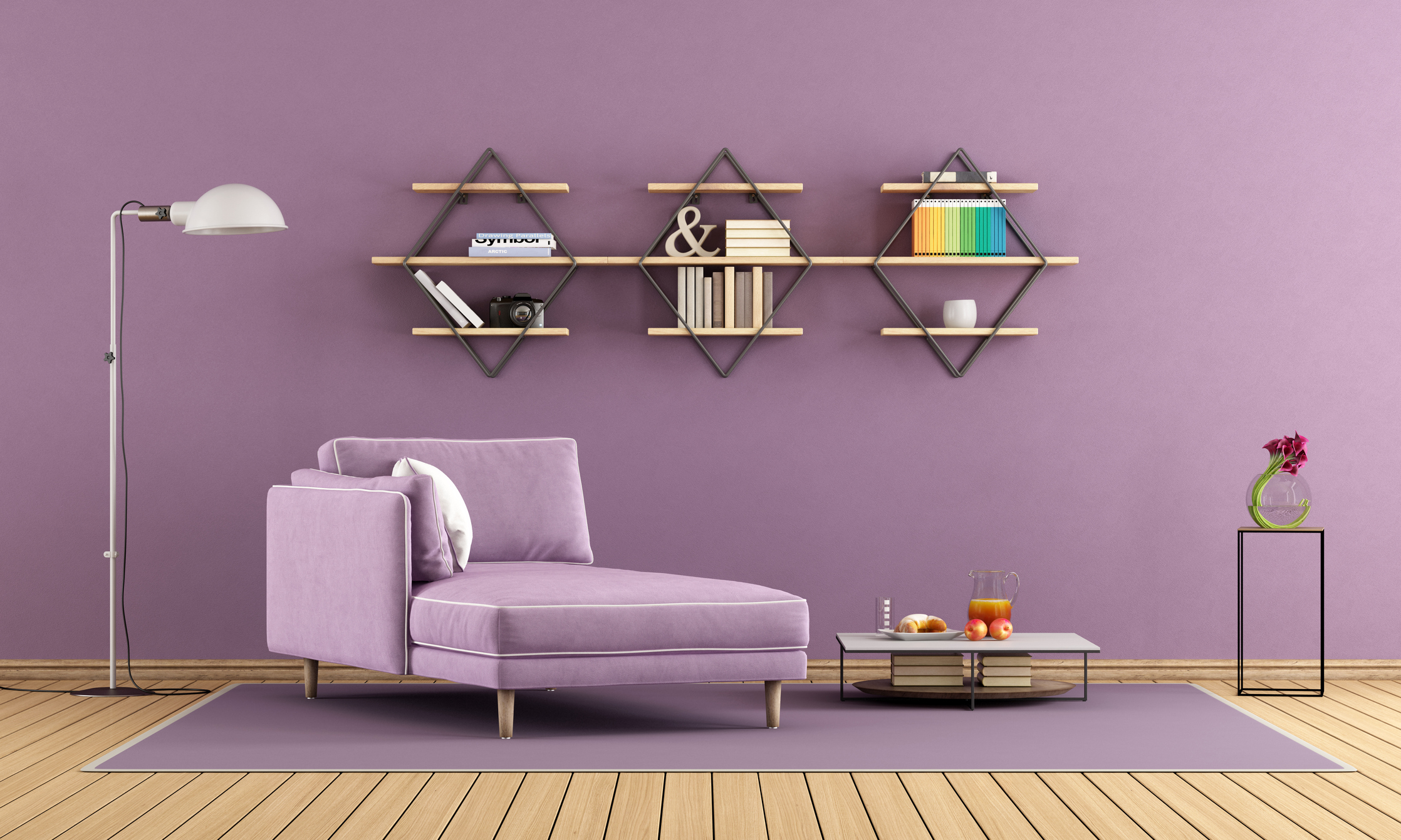 Modern living room with purple chaise lounge and shelves on wall - 3d rendering