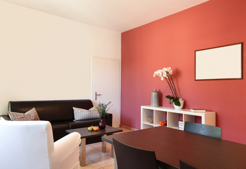 interior of apartment, living room with red wall