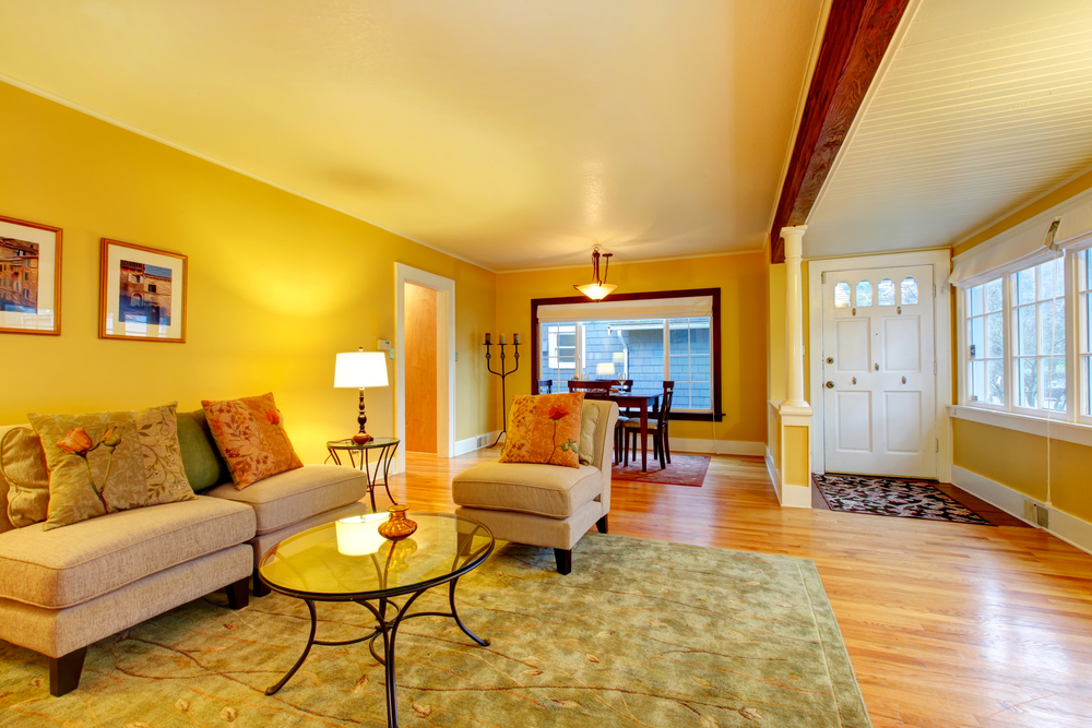 Furnished living room with entrance hall and dining area. Yellow walls great match with white plank ceiling and entrance door
