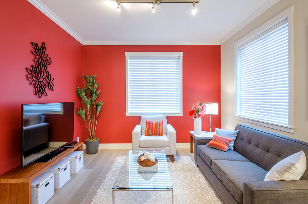 Modern red living room interior design