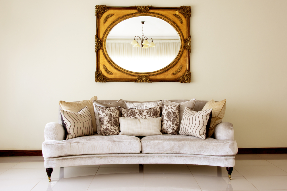 Couch with Mirror / Modern Couch with Cushions and Antique Mirror