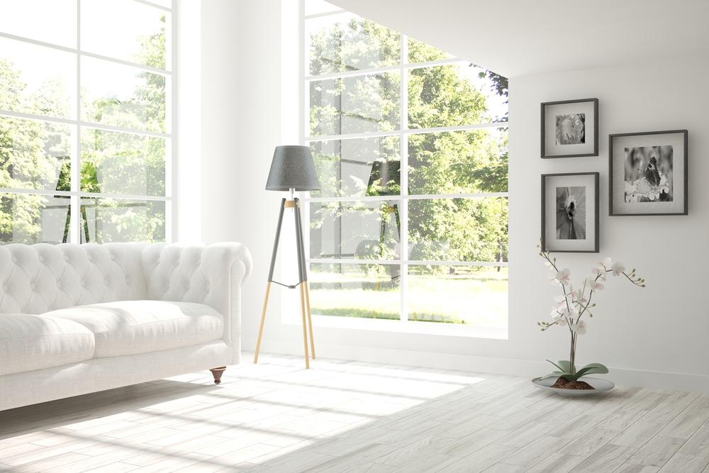 White room with sofa. Scandinavian interior design.