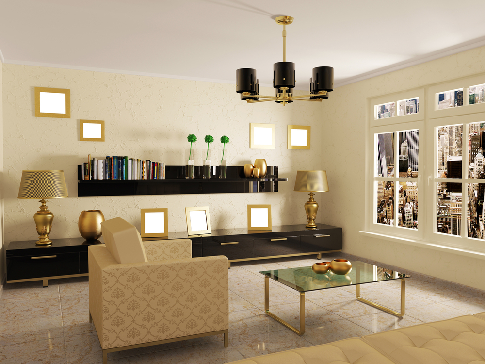 modern room in cream colors with white furniture