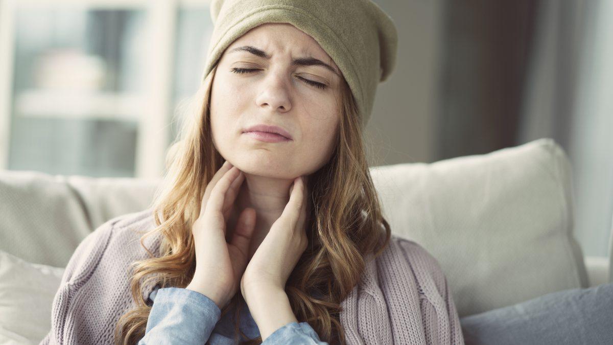 woman throat sensation