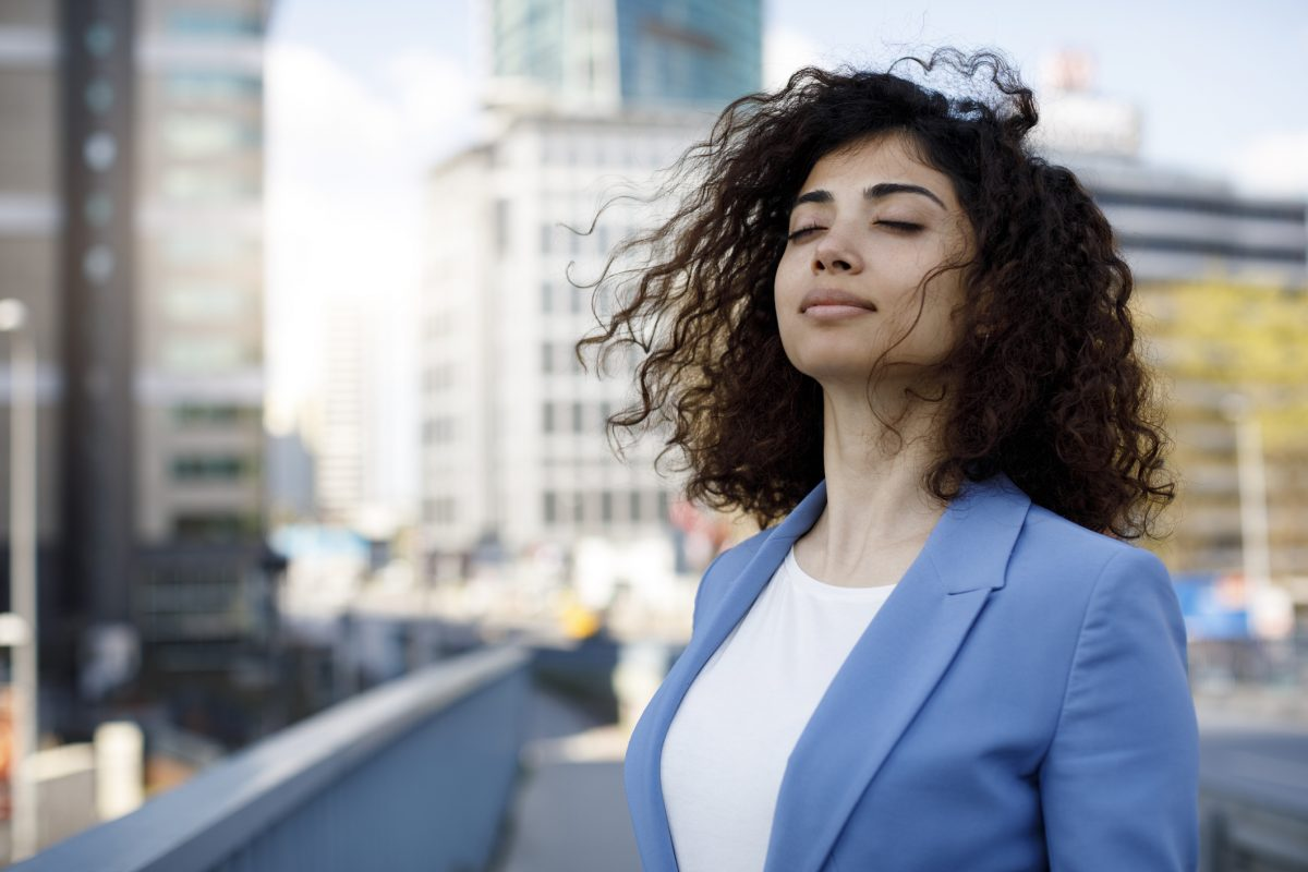 happy woman breathing healthy
