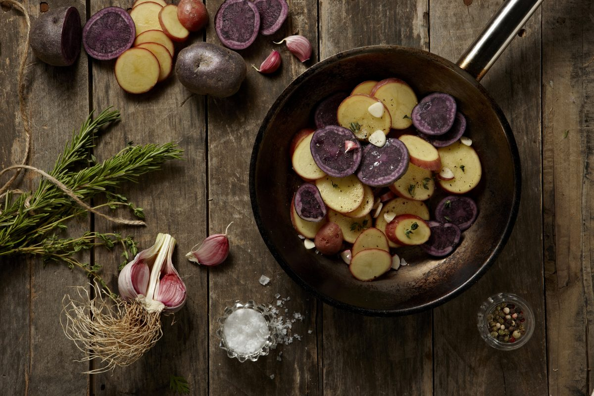 potassium-rich potatoes in a pan