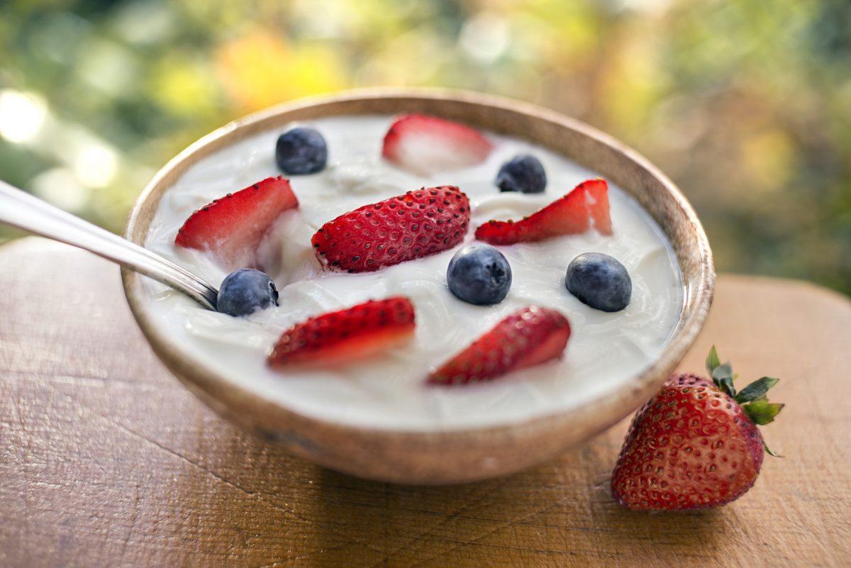 bowl of yogurt with fruit