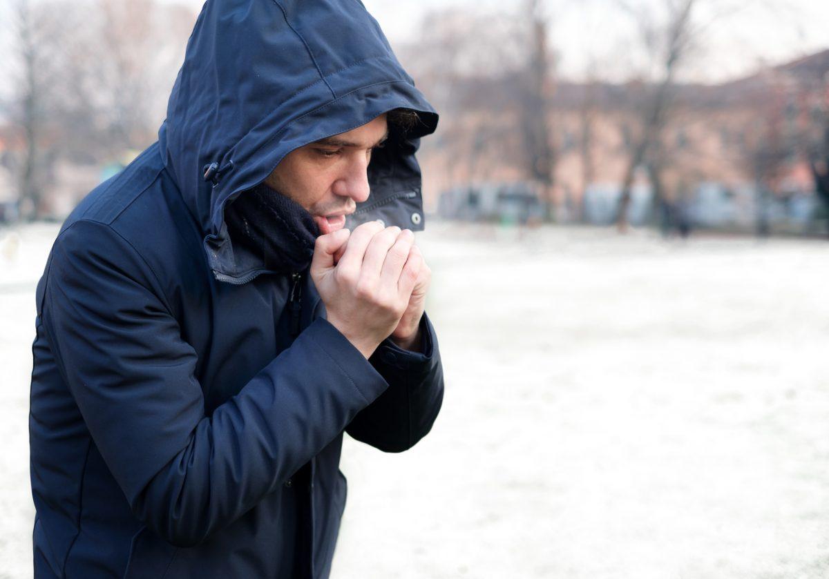 man winter cold air