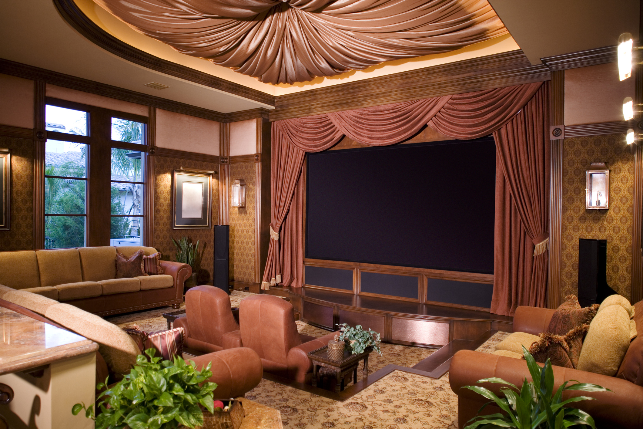 Home Theater with Sofas and Leather Theater Seats