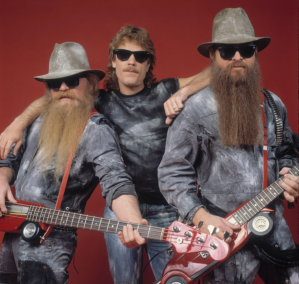 Portrait of the band ZZ Top at the Metro Center, Rockford, Illinois, February 8, 1984.