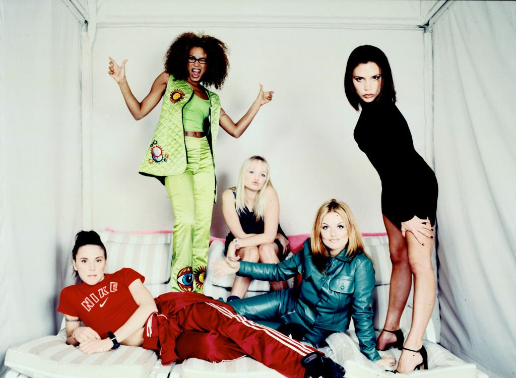 The pop rock singing group, The Spice Girls, pose for a group portrait during a studio session in New York City, February 1, 1997.
