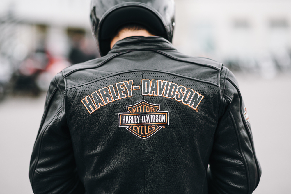 Embroidery on the back of a biker jacketHarley Davidson.