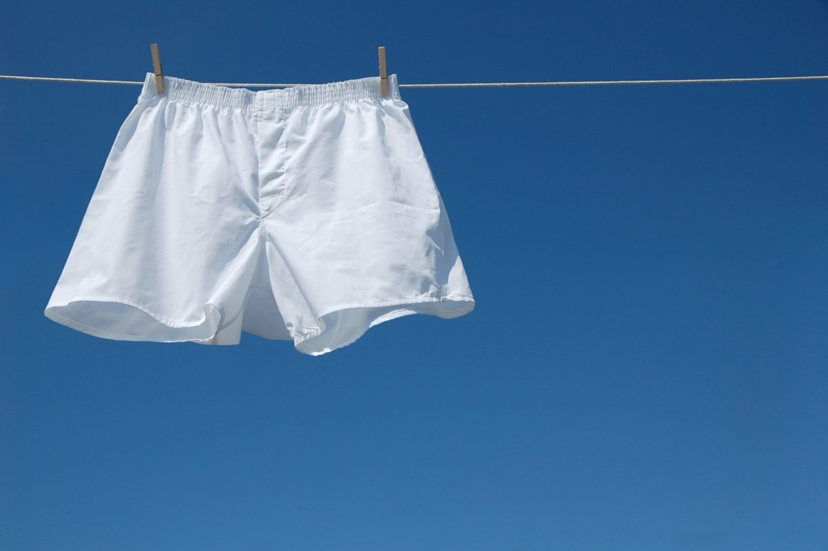 Cotton underwear drying on clothing line