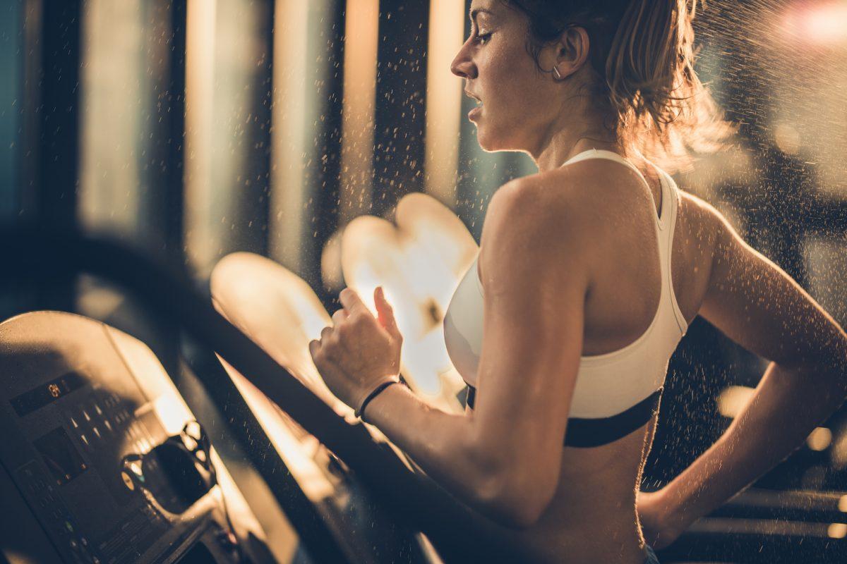 woman exercising sweating