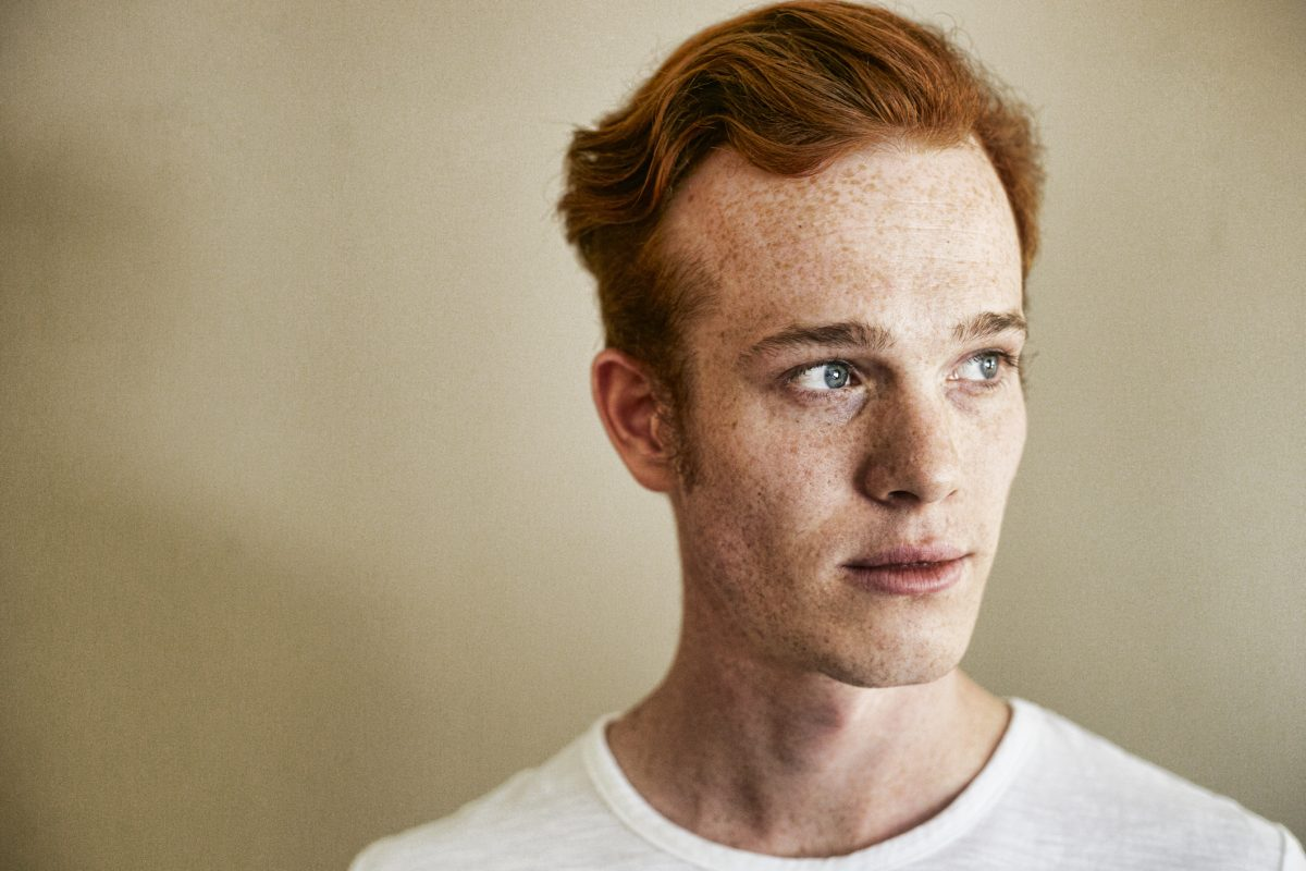 a man with freckles