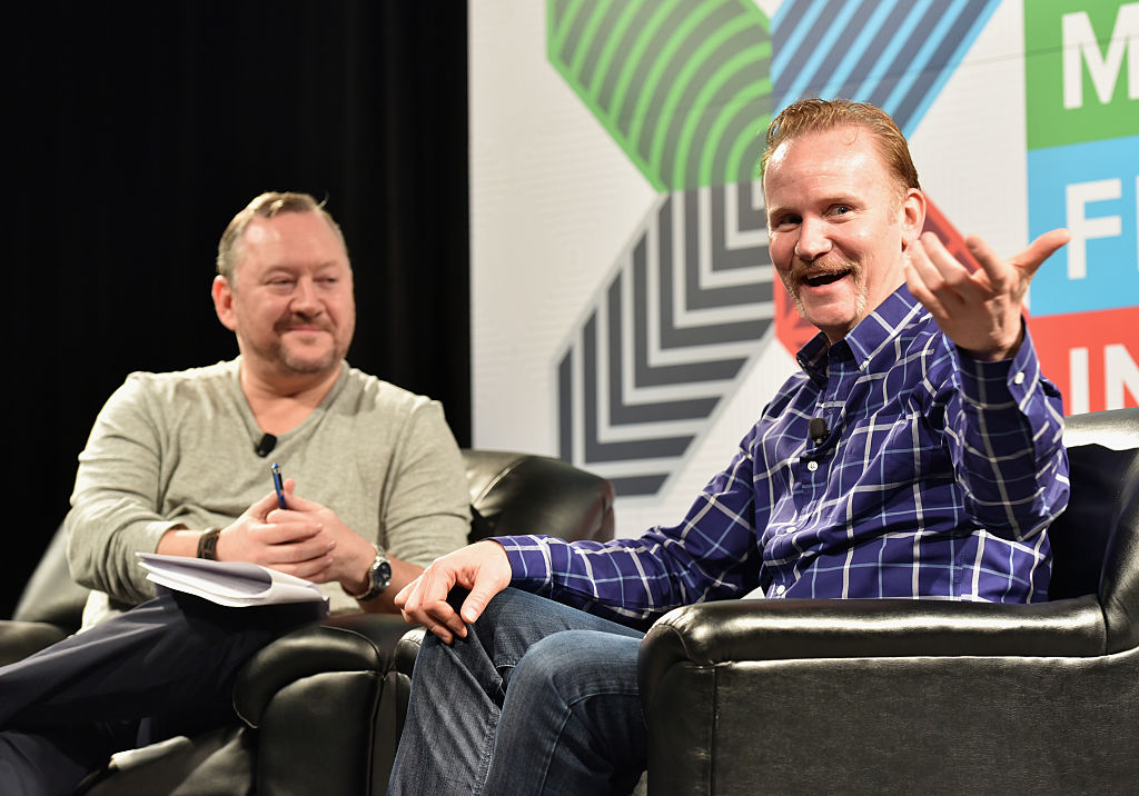 AUSTIN, TX - MARCH 14: Dermot McCormack, President of AOL Video and Studios (L) and filmmaker Morgan Spurlock speak onstage at 'Hyper-Reality TV and Online Video Are a Perfect Fit' during the 2015 SXSW Music, Film + Interactive Festival at Austin Convention Center on March 14, 2015 in Austin, Texas. (Photo by Amy E. Price/Getty Images for SXSW)