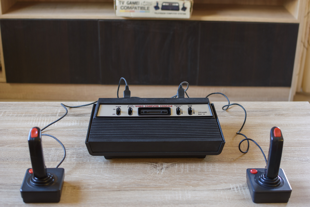 The historical Atari 2600 Video Computer System running at 1.19 MHz with 128 bytes rom.