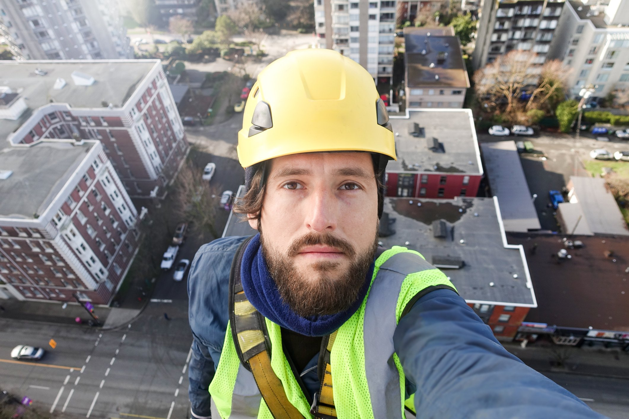 climbing equipment, Climbing, abseil, Clambering, Manual Worker, work at high, selfie, Vancouver, downtown