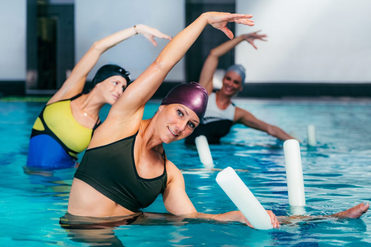 Water aerobics often includes stretching.