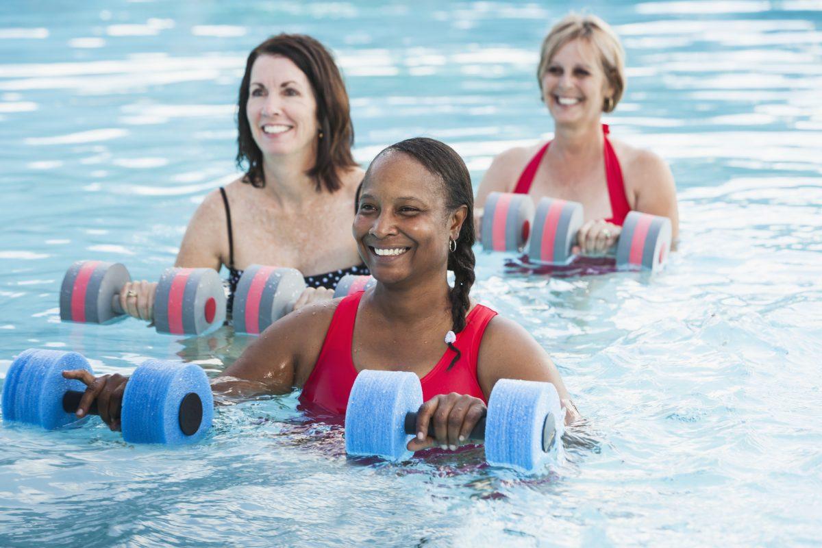 Water aerobics helps women keep bones strong.