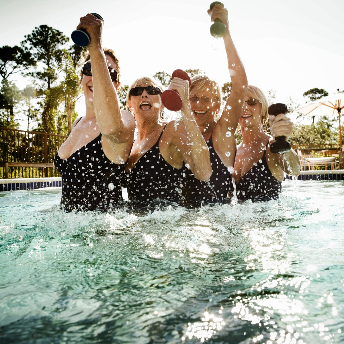 Make friends in water aerobics classes for fun and accountability.