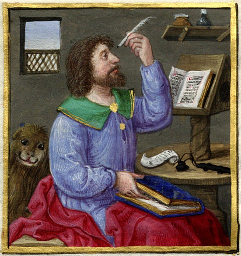 Probably an evangelist with a lion, indicating that this is Mark, the presumed author of Mark's Gospel.