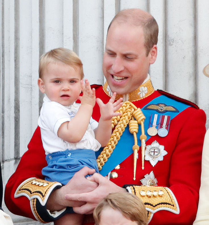 Prince William, Duke of Cambridge and Prince Louis of Cambridge on the balcony of Buckingham Palace during Trooping The Colour, the Queen's annual birthday parade, on June 8, 2019 in London, England. The annual ceremony involving over 1400 guardsmen and cavalry, is believed to have first been performed during the reign of King Charles II. The parade marks the official birthday of the Sovereign, although the Queen's actual birthday is on April 21st.