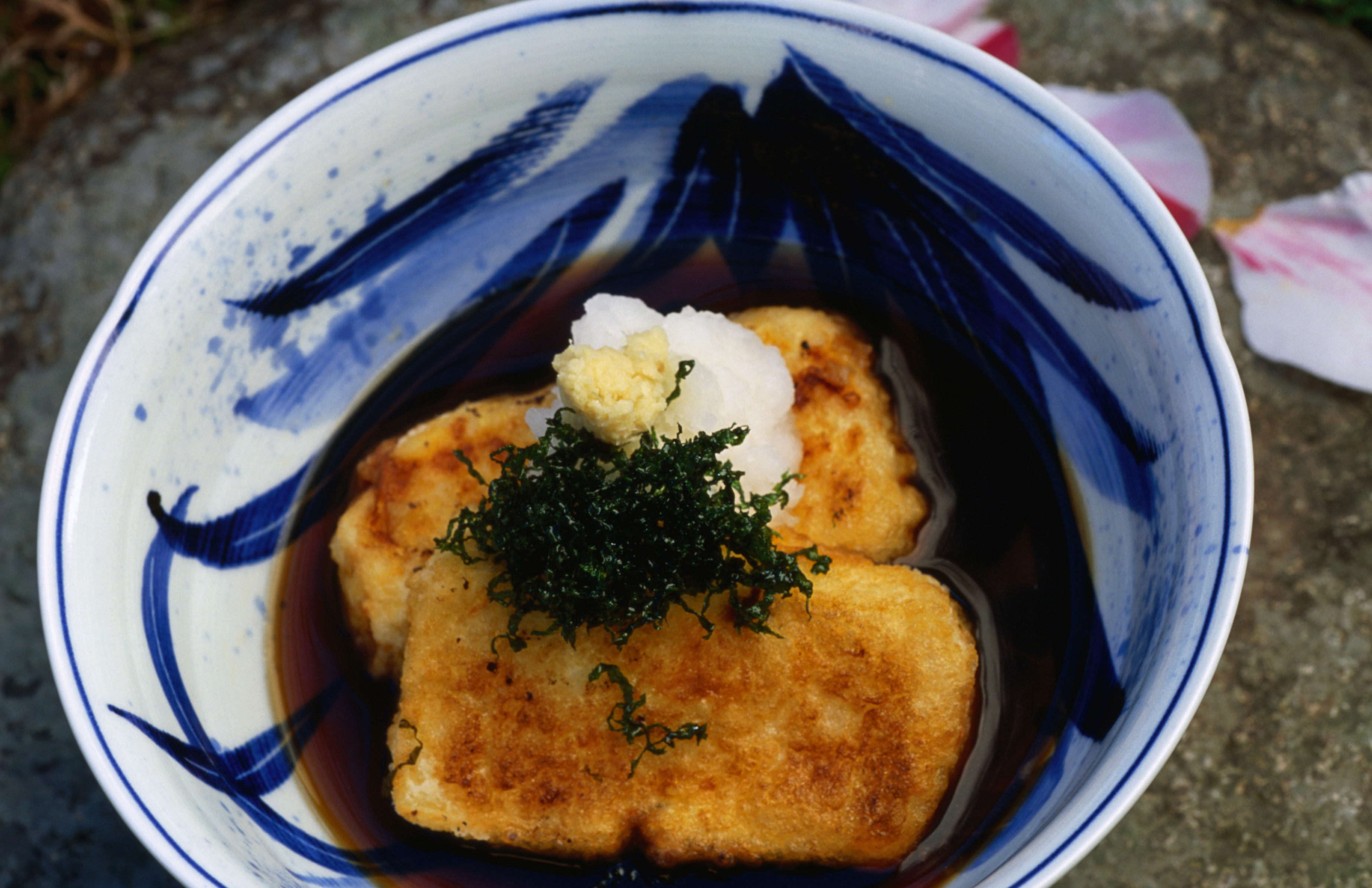 Agedashi dofu, deep fried tofu served in a fish stock soup- Japan