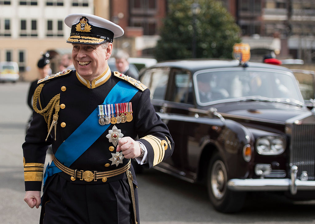 Prince Andrew, Duke of York arrives for a reception at the Honourable Artillery Company following the Afghanistan service of commemoration at St Paul's Cathedral on March 13, 2015 in London, England.