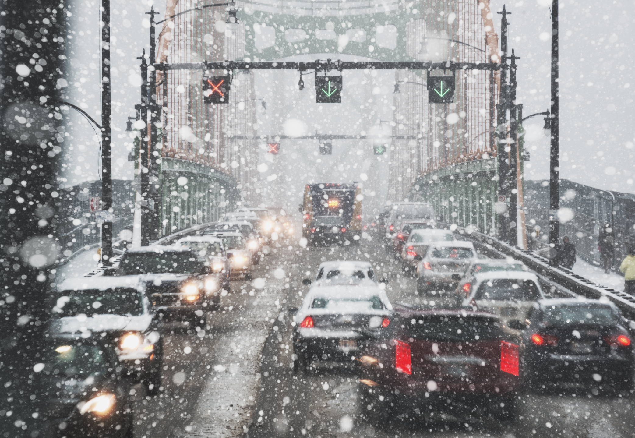 Rush hour traffic during a heavy snowfall on the Angus L. MacDonald Bridge.